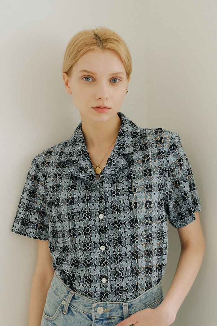 CHECK LACE SHIRT_BLUE