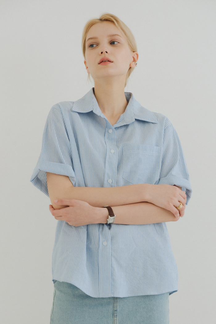 STRIPE BASIC SHIRT_BLUE